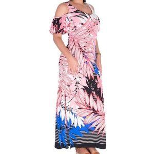 NWT Nine West Coral Pink Blue Cold Shoulder Dress